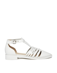Faith White Strappy Gladiator Flat Shoes