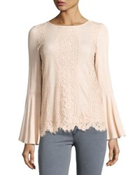 Neiman Marcus Lace Front Bell Sleeve Top Flesh