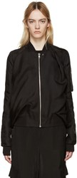 Rick Owens Black Crudo Swoop Flight Bomber Jacket