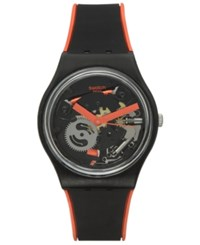 Swatch Unisex Swiss Power Tracking Black Silicone Strap Watch 34Mm Gb290