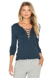 Pam And Gela Long Sleeve Lace Up Top Teal