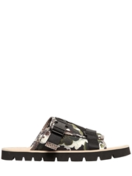 Msgm Camo Printed Cotton Canvas Slide Sandals Camouflage