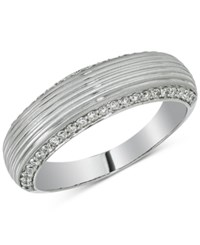 Esquire Men's Jewelry Diamond Textured Band 1 2 Ct. T.W. In 14K White Gold First At Macy's