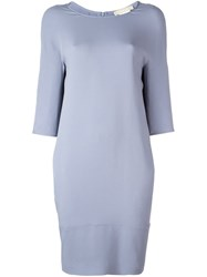 Max Mara 'S Three Quarters Sleeve Shift Dress Grey