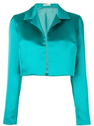 P.A.R.O.S.H. Cropped Satin Jacket Green