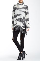 Romeo And Juliet Couture Cowl Neck Fringe Sweater Black