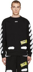 Off White Black Diagonal Spray Pullover