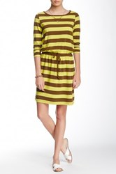 Lilla P Striped Stretch 3 4 Sleeve Drawstring Dress Yellow