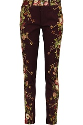 Dolce And Gabbana Printed Low Rise Straight Leg Jeans Purple
