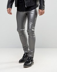 Asos Meggings In Metallic Gray Gray