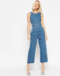 Asos Denim Wide Leg Cut Out Jumpsuit In Pretty Vintage Wash Stone