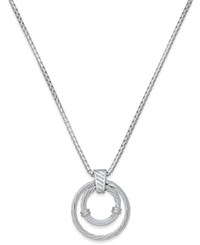Macy's Diamond Double Circle Pendant Necklace 1 4 Ct. T.W. In Sterling Silver