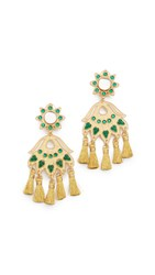 Mercedes Salazar Petite Fiesta Clip On Earrings Gold Green