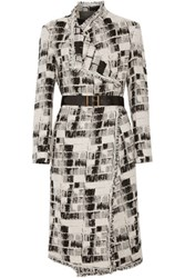 Donna Karan New York Belted Jacquard Coat Light Gray