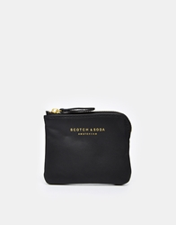 Scotch And Soda Leather Zip Wallet Black