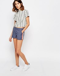Vila Runner Stripe Relaxed Shorts Navy