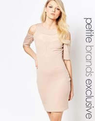 John Zack Petite Mesh Insert Cold Shoulder Plunge Bodycon Dress Caramac Beige