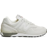 New Balance M576 Leather Trainers Off White Reptile