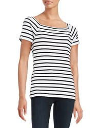 Lord And Taylor Spring Street Striped Tee Black