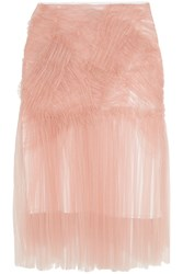 Burberry Ruched Tulle Midi Skirt Pink