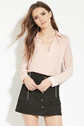 Forever 21 Contemporary Satin Blouse Pink