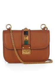 Valentino Lock Rolling Small Leather Shoulder Bag Tan