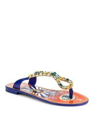 Dolce And Gabbana Teardrop Jeweled Leather Thong Sandals Blue Multi