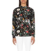 Warehouse Floral Bird Print Blouse Black