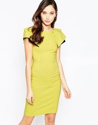 Vesper Logan Midi Dress With Exaggerated Shoulder Detail Lime
