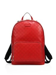 Gucci Signature Embossed Leather Backpack Red Black