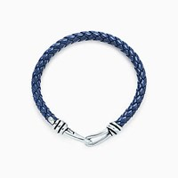 Tiffany And Co. Paloma Picasso Knot Single Braid Bracelet Of Sterling Silver Blue Leather.