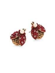 Marc Jacobs Ladybug Crystal And Faux Pearl Stud Earrings Red