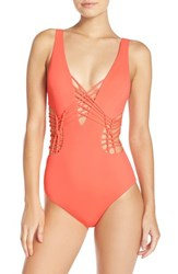 Becca Women's 'Electric Current' Cutout One Piece Swimsuit Persimmon