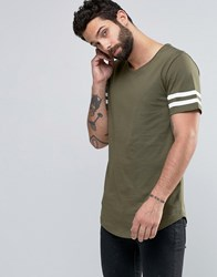 Only And Sons Longline T Shirt With Arm Stripes Curved Hem Khaki White Green