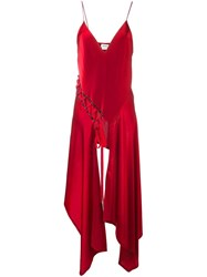 Dkny Cascading Satin Cami Top Red