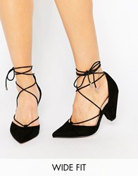 Asos Sinead Wide Fit Lace Up Heels Black