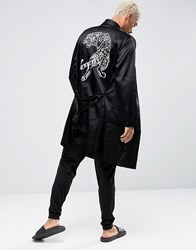 Asos Loungewear Satin Dressing Gown With Tiger Embroidery Black