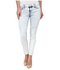 Dkny Ave B Ultra Skinny Rip And Repair Crop In Sky Wash Sky Wash Women's Jeans Blue