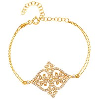 Adele Marie Gold Plated Sterling Silver Cubic Zirconia Filigree Bracelet Gold