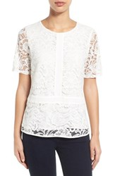 Women's Gibson Lace Overlay Short Sleeve Top White