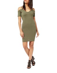Miss Selfridge Cold Shoulder Bodycon Dress Green