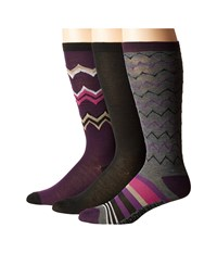 Steve Madden 3 Pack Knee High Geo Chevron Black Women's Knee High Socks Shoes
