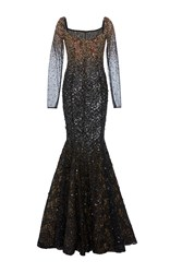 Georges Hobeika Embroidered Lace Trumpet Gown Black