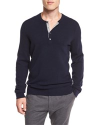 Vince Cashmere Long Sleeve Henley Sweater Navy Coastal