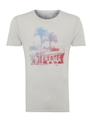Label Lab Pool Side Palm Tree And Hotel Graphic T Shirt Light Grey