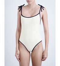 Solid And Striped The Poppy Swimsuit Cream Navy