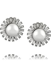 Kenneth Jay Lane Rhodium Plated Crystal And Faux Pearl Earrings Metallic