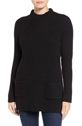 Chaus Women's Two Pocket Mock Neck Tunic Sweater Rich Black