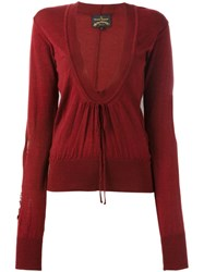 Vivienne Westwood Anglomania Deep V Neck Jumper Red