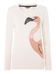 Biba Flamingo Placement V Neck Jumper Beige
